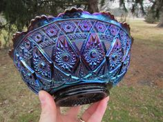 Imperial DIAMOAND LACE ANTIQUE CARNIVAL GLASS MASTER ICS BOWL~ELECTRIC PURPLE! | eBay Fenton Glassware, Antique Glassware, Antique Chandelier, Chandeliers, Types Of Glassware, Blue Carnival Glass, Antique Dishes, Imperial Glass, Vintage Carnival