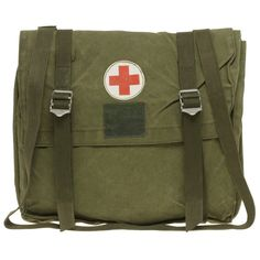 Reclaimed Vintage Medic's Bag ❤ liked on Polyvore featuring bags, handbags, shoulder bags, accessories, zombie, apocalypse, military, green purse, military shoulder bag and reclaimed vintage