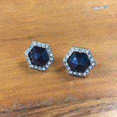 Statement Earrings Accented by sparkling crystal pavé, a bold jet black center looks modern + chic in haute-right-now hexagonal silhouettes. Hypoallergenic, lead and nickel free. Ocean Jewelers Jewelry