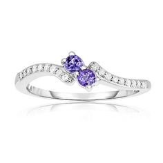Two-Stone Amethyst & Diamond Ring in 10k White Gold