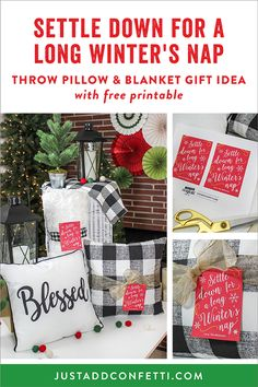 This throw pillow and blanket Christmas gift idea is perfect for a long winter's nap...and anyone on your list this year! Grab the free printable in the Just Add Confetti printable library! #gifttag #freeprintable #JustAddConfetti #Christmas #winter