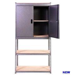 Heavy Duty Storage Unit Rack Cupboard Shelves Home Garage Industrial Organizer 304363330072 Cupboard Shelves, Storage Shelves, Heavy Duty Racking, Heavy Duty Shelving, Patio Storage, Garage House, Galvanized Steel, Industrial