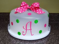 Personalized Cake Food Carrier Polka dot Initial by Maggiebelles, $18.00