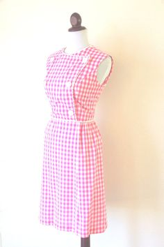 Vintage 1960s Pink Gingham Wiggle Dress with by RetroKittenVintage, $55.00