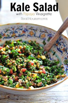Kale Salad with Papaya Vinaigrette | Real Housemoms | This salad is AMAZING!!!!!!