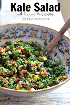 Kale Salad with Papaya Vinaigrette | Real Housemoms | This salad is AMAZING!!!!!!
