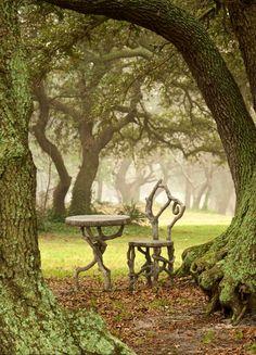 Concrete Faux Bois Outdoor Garden Furniture by Sculptor Diane Husson The Secret Garden, Secret Gardens, Nature Aesthetic, Parcs, Fantasy Landscape, Forest Landscape, Dream Garden, Belle Photo, Faeries