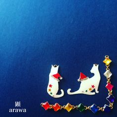 #ChristmasCard #Christmas #Card #merrychristmas #HappyHolidays #HappyHoliday #santa #art #japan #japaneseartist #accessories #handmade  #originalart #artwork #happy #animal  #ネコ #cat