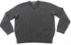 Polo Ralph Lauren 100% Lambswool V-Neck Sweater Mens Medium M Gray Green #PoloRalphLauren #VNeck