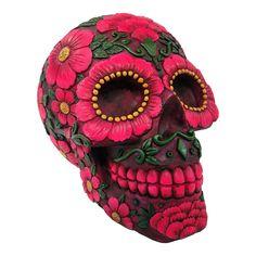 Nemesis Now Skull Sugar Blossom Figurine (Pink/Purple)