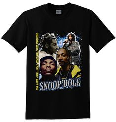 Snoop Rapper Hiphop Short Sleeve Black Gildan T shirt M - Graphic Tee Outfits, Graphic Tees, Rock T Shirts, Cool Shirts, Rapper Merch, Aesthetic Fashion, Aesthetic Style, Cute Sweatpants, Band Outfits