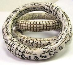 Faux Ivory Polymer Clay Bangle...  from DivaDesigns1