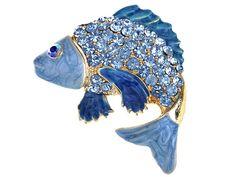 Sapphire Aqua Crystal Rhinestone Enamel Golden Carp Koi Fish Fashion Pin Brooch for sale online Koi Fish Designs, Fish Fashion, Carpe Koi, Japanese Koi, Swarovski, Pandora, Fisher, Animal Jewelry, Blue Crystals