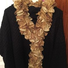 Gold Ruffle Scarf Gold ruffle scarf. Hand knitted by seller. Accessories Scarves & Wraps