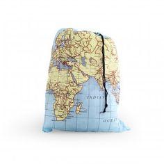 Wäschesack mit Weltkartenprint, von Kikkerland