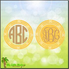 Tropical Rattan Frame Monogram Base Designs Digital Clipart Instant Download Full Color Jpeg, Png, SVG, DXF EPS Files - pinned by pin4etsy.com