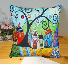 VELVET PILLOW COVER Barn Sheep 20x20 Folk Art Abstract Primitive Colorful Karla Gerard via Etsy