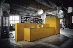 Modern - Kitchen - Design | Saffron Yellow Satin | Graphite Knotty Oak | Next 125 German Kitchens #germankitchens #kitchendesign #next125 #luxurykitchens
