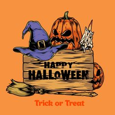 Colorful Happy Halloween vector design with a violet witch's hat, a pumpkin, a broom and a wooden plaque with Happy Halloween text. On our website you'll find a lot of Halloween designs, which you can use to create an awesome Halloween costume. 100% vector, ready to be printed. #halloween #halloweenparty #vector #vectorillustration #pumpkin #halloween2020