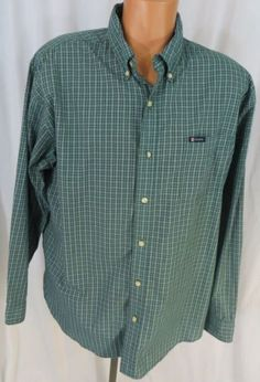 """""""CHAPS"""" MENS XL GREEN PLAID BUTTON FRONT SHIRT - PLEASE SEE ALL PICTURES"""