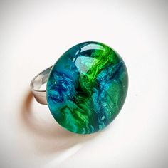 Resin Ring - Adjustable size from 6 to 9 - Blue-green swirls Resin Ring, Resin Jewelry, Wood Resin, Art Decor, Blue Green, Art Pieces, Gemstone Rings, Gemstones, Handmade