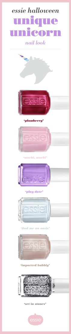 This Halloween make your look unique with a unicorn costume that goes magically well with these dreamy essie nail polishes. Frolic in a creamy berry red with hints of plush pink 'plumberry' or 'muchi much' a creamy, luscious pink with a kiss of mauve. Flirt with an adorable purple polish 'play date'. Quench your thirst for paradise in ice blue 'find me an oasis' while sipping on some 'imported bubbly', a sparkling luxurious golden beige. And transform into a sparkly fun in 'set in stones'.