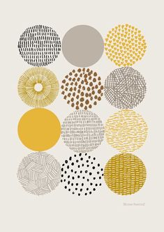 Circles is a print based on my pattern filled drawings of circular shapes. The focus is very much on color and texture and their relationships to each other. Colors used in this print are gold, mustard, gray, and black on a stone-colored background. Art Design, Graphic Design, Interior Design, Motifs Textiles, Posca Art, Art Journals, Printmaking, Pattern Design, Pattern Print