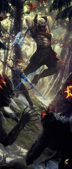ArtStation - God of War - Kratos Atreus, Kaithzer Morejón Kratos God Of War, Amoled Wallpapers, Gaming Wallpapers, Good Of War, Levi X Eren, Fan Art, Norse Mythology, Video Game Art, The Villain