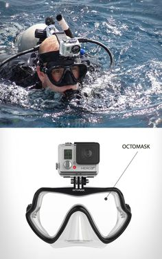 Gopro Accessories - Go Pro - Ideas of Go Pro for sales. - Go Pro octomask connects the go pro to a diving mask and eliminates headstraps. Gopro Camera, Nikon Dslr, Camera Gear, Film Camera, Gopro Ideas, Gopro Action, Gopro Accessories, Electronics Accessories, Scuba Diving Gear