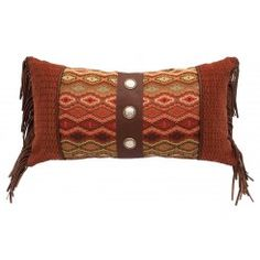"""Marquise, Gingerbread, and Sierra Brown Leather Pillow -  14"""" x 26"""""""