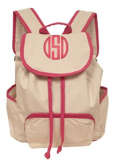 pink trimmed personalized backpack