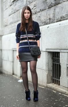 Quilted leather skirt and sweater