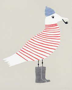 #illustration #bird #sweater #boots #captain #pipe