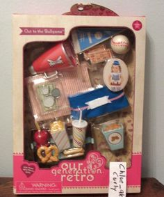 """Up for sale is this really ADORABLE Take me out to the ballgame baseball Playset. 1 drink. Fits American girl, Battat, Our Generation, etc. 18"""" dolls. Be sure to add me to your favorites list ! It comes with LOTS of fun and pieces! 