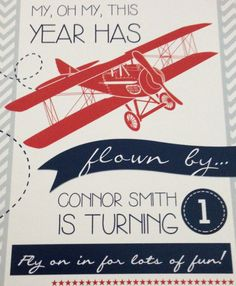 Vintage Planes Birthday Invite - Vintage Airplane Theme - It all started with a cool bomber jacket my parents found for Connor in Chicago. After months of collecting planes and pictures, it was the perfect way for us to celebrate our wonderful 1 year old! Planes Birthday, 1st Birthday Themes, Baby Boy 1st Birthday, Birthday Fun, First Birthday Parties, Birthday Ideas, Planes Party, Birthday Shirts, Birthday Wishes