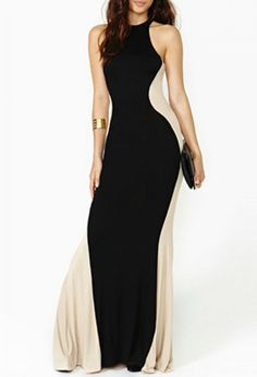 Black Apricot Sleeveless Slim Maxi Dress