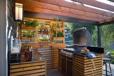 Grill masters will LOVE this gourmet grill station and the view while grilling!