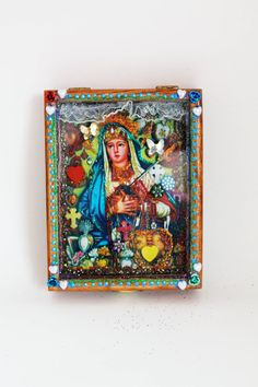 Mexican shrine wooden box nicho  - The Virgin Mary shrine or altar piece / Rainbow colorful / Mexican folk art kitsch