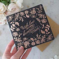 Letterpress Greeting Card - With love to my beautiful mum (black marble)