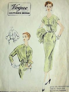1950s SLIM DRESS,  SHORTIE JACKET PATTERN VOGUE COUTURIER DESIGN 730