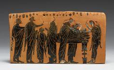 "Gela Painter - Black-Figure ""Pinax"" (Plaque) - Walters 48225 - Ancient Greek funeral and burial practices - Wikipedia Ancient Greek Art, Ancient Rome, Ancient Greece, Ancient History, Art Mort, Death Art, Veuve, Black Figure, Historia"