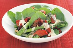 Crisp capsicum and asparagus add a satisfying crunch to this salad, while the tangy dressing and pine nuts give it extra flavour.