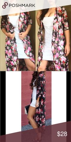 ⭐️JUST IN⭐️Sheer long flower kimono I am a little obsessed with this piece!! beautiful sheer long flower kimono. Can be worn with just about anything, a dress, shorts and a basic top, etc. trades, price is firm unless bundled. One size fits most. REFERENCE: the model in the first photos is 5'7, a size 6, and the kimono ends at about mid calf. Lexi's Boutique  Tops