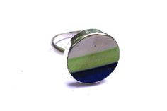 Blue and Green stripe ceramic ring Green Stripes, Blue Green, Free Silver, Ring Designs, Handcrafted Jewelry, Gemstone Rings, Handmade Jewelry, Handmade Jewellery, Jewelry Rings