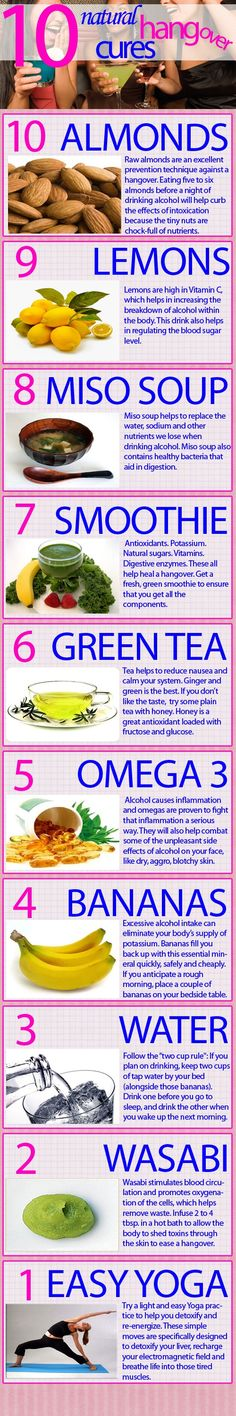 A few natural and creative remedies that can help cure that hangover & a few others not mentioned is take some Milk Thistle, ibuprofen and some Vitamin B with lots of good ol or Coconut water is excellent. Natural Cures, Natural Healing, Get Healthy, Healthy Tips, Healthy Eating, Natural Hangover Cure, Health Remedies, Home Remedies, Hangover Remedies