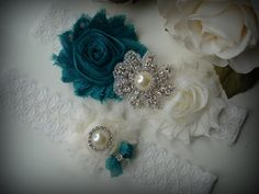 SALE/ Wedding Garter Set Ivory Garter Rhinestone by TIdesigns, $22.75