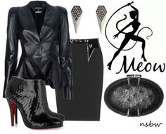 ShopStyle: LEATHER LOVER #18: ALEXANDER MCQUEEN STRUCTURED LEATHER BLAZER  +   CARTOON YOUR FASHION #27: CATWOMAN by nsbw