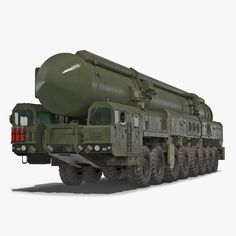 model: Topol Mobile Intercontinental Ballistic Missile is a high quality, photo real model that will enhance detail and realism to any of your rendering projects. Ballistic Missile, 3ds Max Models, Real Model, Military Vehicles, Rockets, Truck, History, Inspiration, War