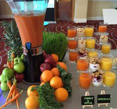 Kick start your meeting with a selection of fresh juice shots and yogurt, served with fruit and granola. Mini Sandwiches, Marriott Hotels, Homemade Cookies, Granola, Yogurt, Catering, Carrots, Juice, Table Decorations