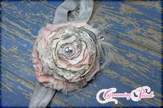 Light Pink Silver Shabby Chic Headband Grey Hair by CrowningPetals
